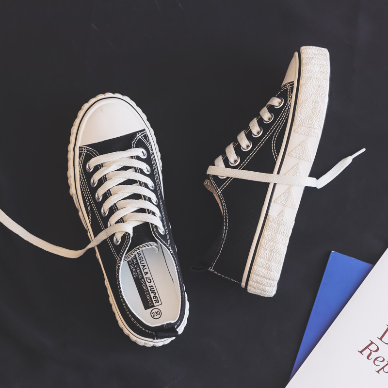 Women Shoes 2020 Spring Fashion Breathable Canvas Women Sneakers New Female Flat Black Casual Shoes Women's Vulcanize Shoes