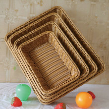 Rattan Fruit Basket Hand-woven Storage Supermarket Hamper Wicker Household Supplies
