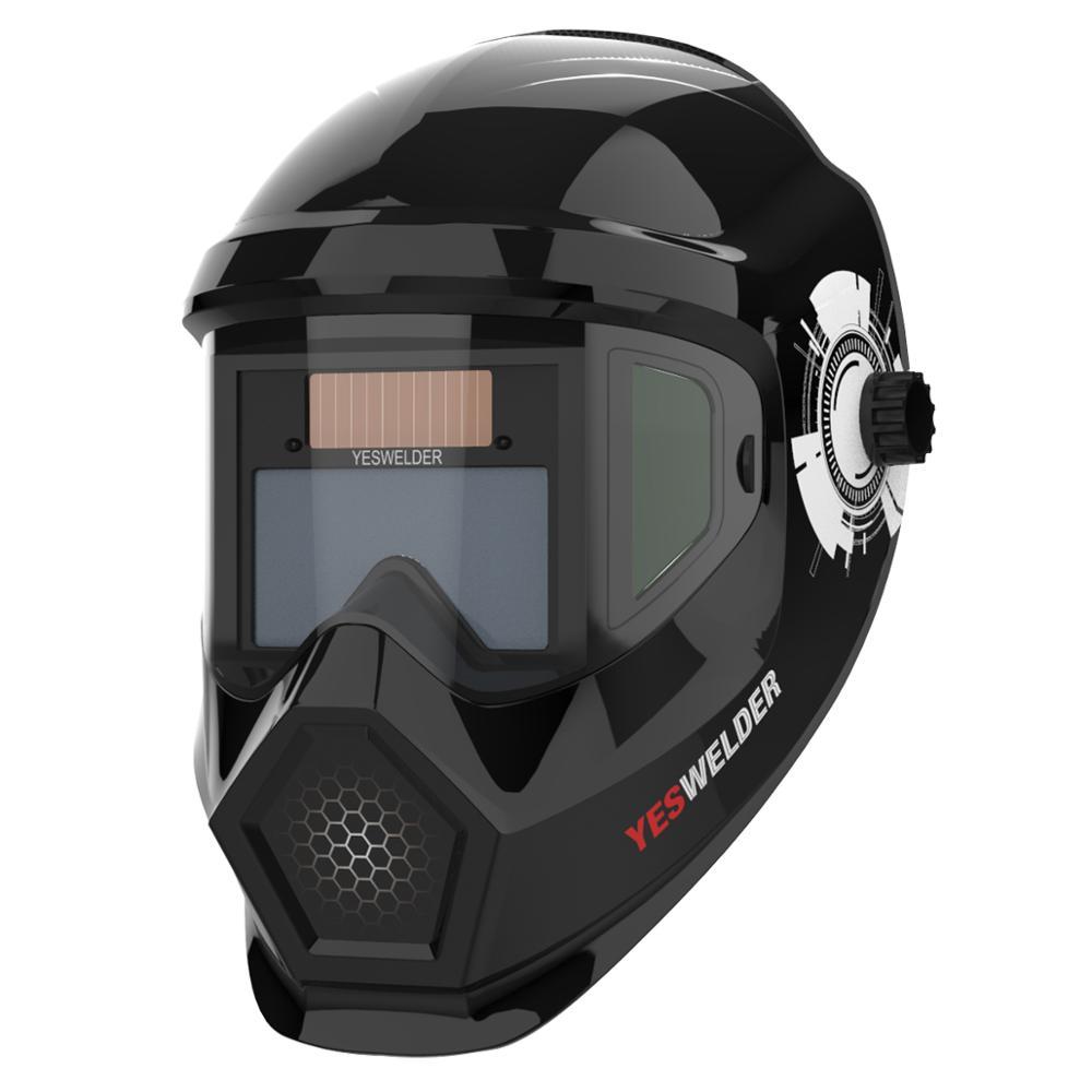 YESWELDER Solar Auto Darkening Anti Fog Welding Helmet True Color Welder Lens Weld Mask Cool Larger View Area For TIG MIG