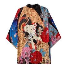 Kimono Cosplay Robe Haori Traditional Japanese Women Cardigan Ukiyo-E Flower-Print Streetwear