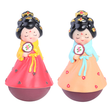 Cute Girl in Dress Tumbler Ornament Crafts Figurine Home Room Office Desk Decoration Gift Kids Toy Household Pendant