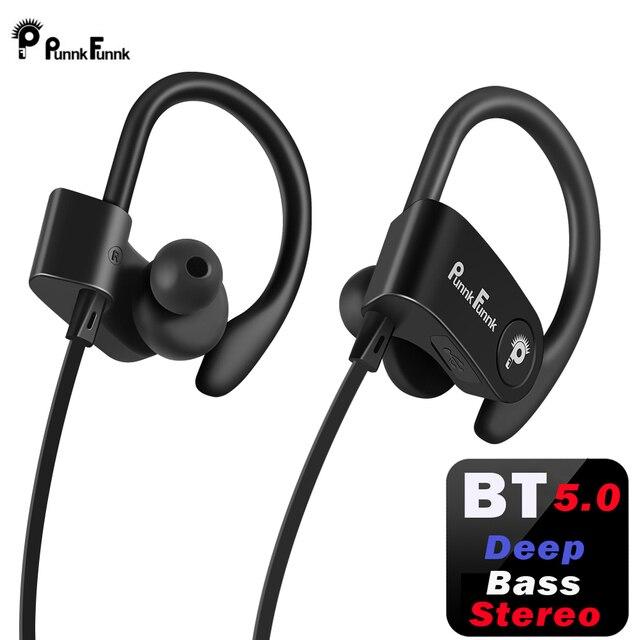 PunnkFunnk Bluetooth Headphones Wireless Earphone bluetooth 5.0 Sport Noise Canceling Deep Stereo earbuds/Mic For iphone samsung