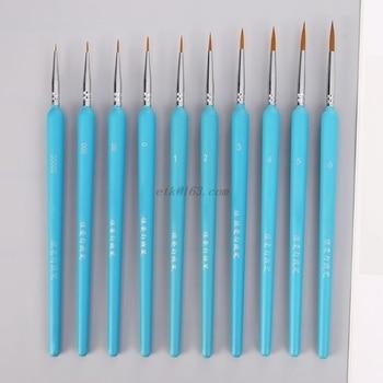 10Pcs/set Professional Wolf Hair Hook Line Pen Fine Painting Brush Pen Set Artist Watercolor Acrylic Paint Brush Art Drawing Sup