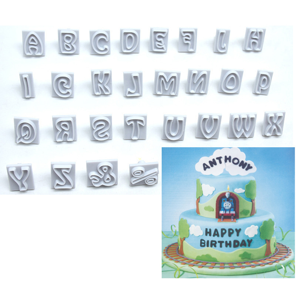 64pcs English Alphabet Symbol Baking Cake Chocolate Decoration Word Handle Round Handle Biscuit Fondant Die-cut Baking Mold