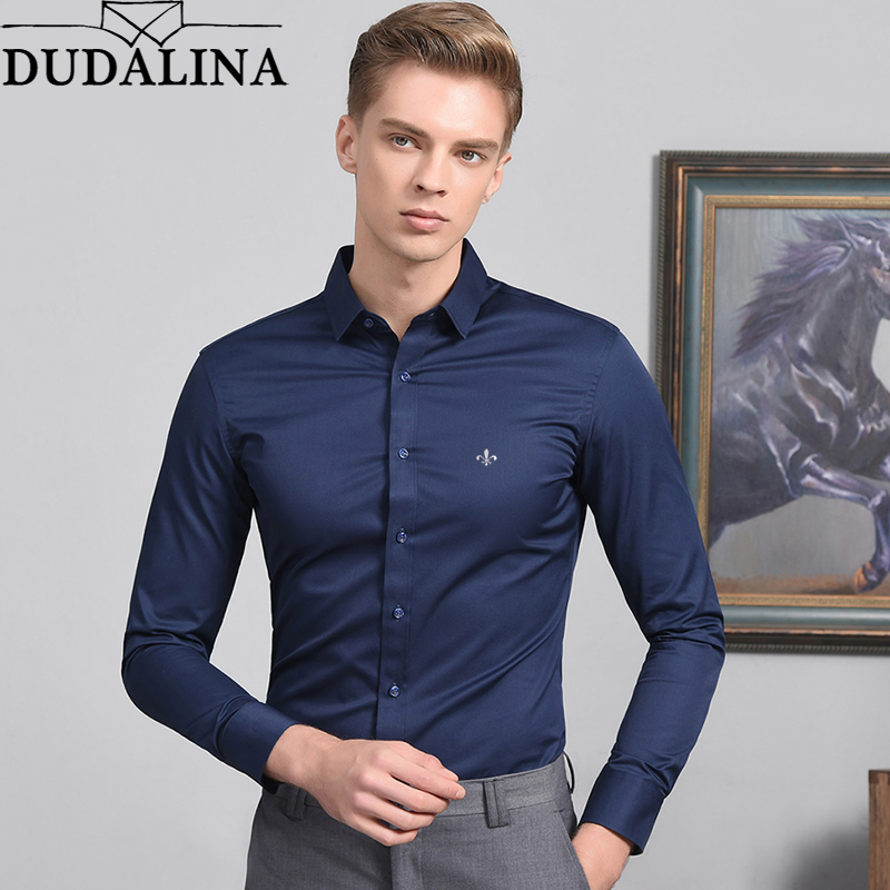 Fashion Blouse Dudalina Camisa Social Masculina Long Sleeve Slim Fit Shirt Men Floral Clothing Off White White Male Cold