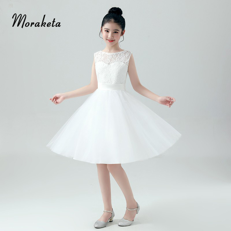 A-line Scoop Neck Sleeveless Lace Priness White   Flower     Girl     Dresses   For Wedding 2019   Girls   Tulle   Dress   For Evening Party