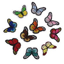 Embroidered Butterfly Applique Iron on Patch Clothes Fabric Sticker Badge(China)