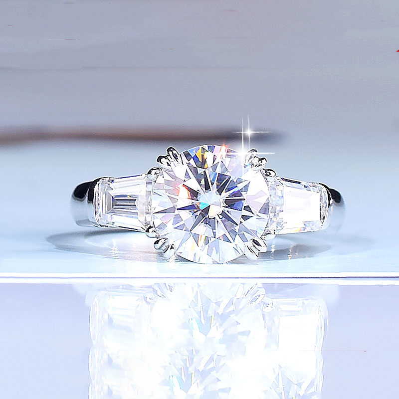 Gold-Ring Moissanite National-Certificate VVS 2ct Wedding 14K with 001 D-Color 100%14k