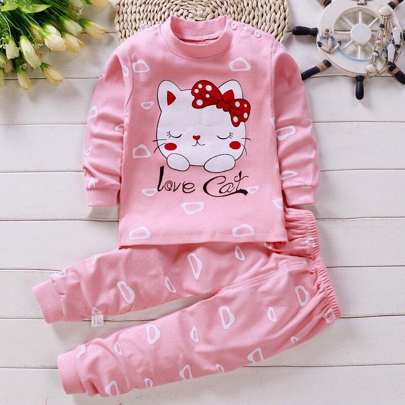 Детские пижамы, комплект одежды для малышей, детская одежда для сна с рисунком единорога, осенняя хлопковая одежда для сна для мальчиков и девочек, пижамы с рисунками животных, пижамный комплект