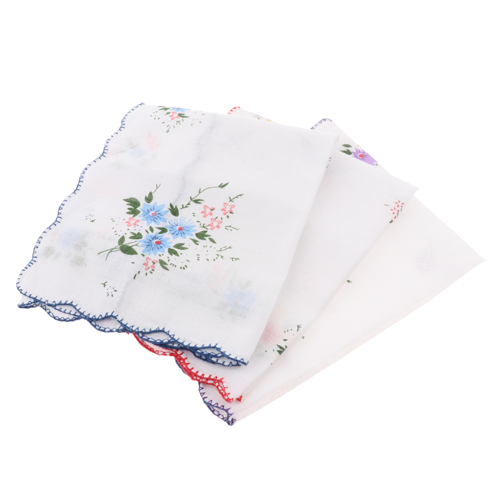 3pcs Women Fabric Handkerchiefs 35 X 35 Cm Cloth Handkerchiefs