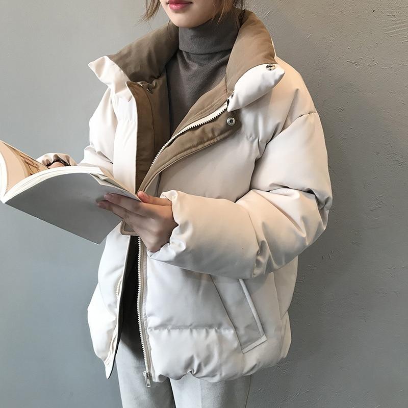 2019 Winter Jacket Women Streetwear Polyester Zipper Straight 3 Solid Color Padded Coat Female Warm Parkas Jaqueta Feminina