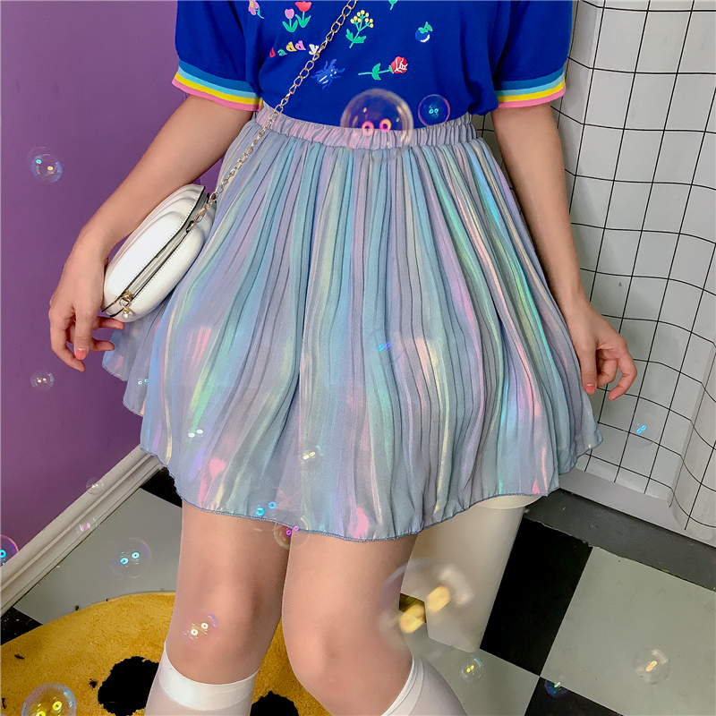 2020 Spring Summer New Chic Pleated Chiffon Skirts A Line A Shape Harajuku Preppy Laser Hologram Half Student Girls Skirts