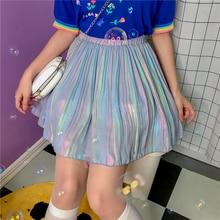 2020 Spring Summer New Chic Pleated Chiffon Skirts A Line A Shape Harajuku Prepp