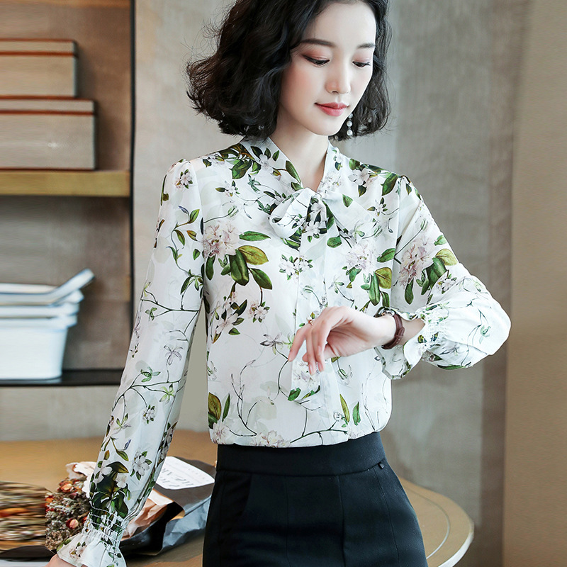 Floral Silk Blouses Ladies Office Sexy Casual White Green Leaves Flower Shirts Tops 2019 Summer Women Plus Size Free Ship