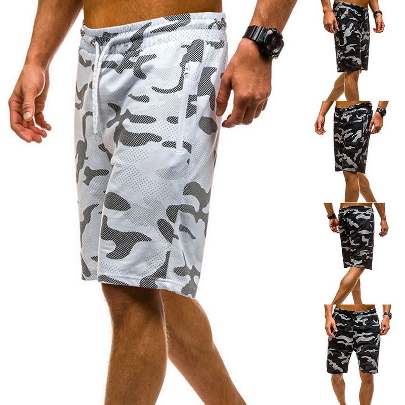 Mens Camouflage Printed Skinny Shorts Elastic Waist Drawstring Fitness Slim Gym Sports Stretch Short Pant Men Camo Summer Shorts