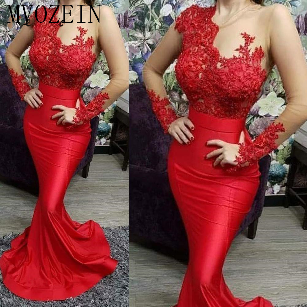 Mermaid Red Evening Dresses Long Sleeve Lace Applique Beaded Modest Elegant Evening Gown 2020 Vestidos De Festa Longo