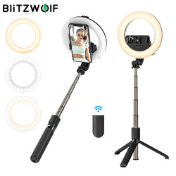 BlitzWolf BW-BS8 Pro bluetooth Selfie Stick with Fill Light Portable Foldable Selfie Stick Tripod for Smartphone for Vlog Living