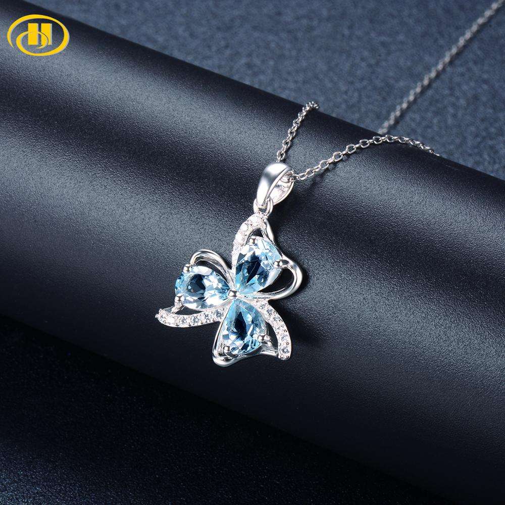 Hutang Cloverleaf Pendant Real 925 Silver Necklace For Woman Natural Sky Blue Topaz And Similar Diamond Fine Jewelry