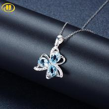 Hutang Cloverleaf Pendant Real 925 Silver Necklace For Woman Natural Sky Blue Topaz and Similar Diamond Fine Jewelry hutang stone jewelry natural green turquoise blue topaz pendant solid 925 sterling silver necklace fine jewelry for women gift