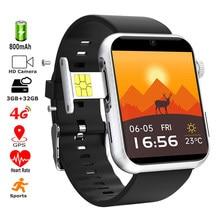 Akıllı saat 4G Sim kart Wifi GPS MT6739 Quadcore 1.5GHz 3GB 32GB çift 5MP kamera spor izci IOS için akıllı saat Android telefon