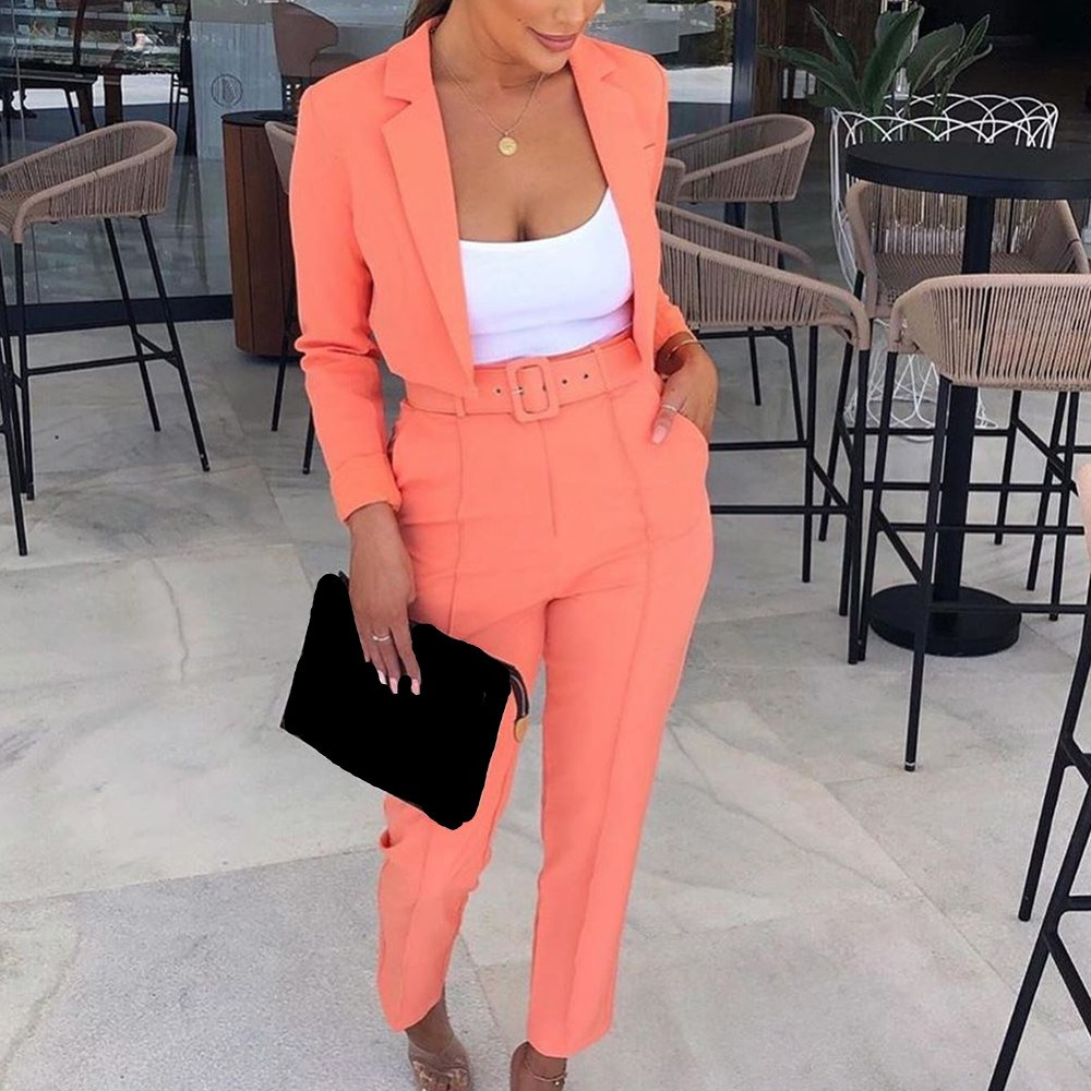 Women Crop Top And Straight Pants Office Sets Two Piece Suits Notched Nice Tide Fashion Solid Fluorescence Blazer Outfits