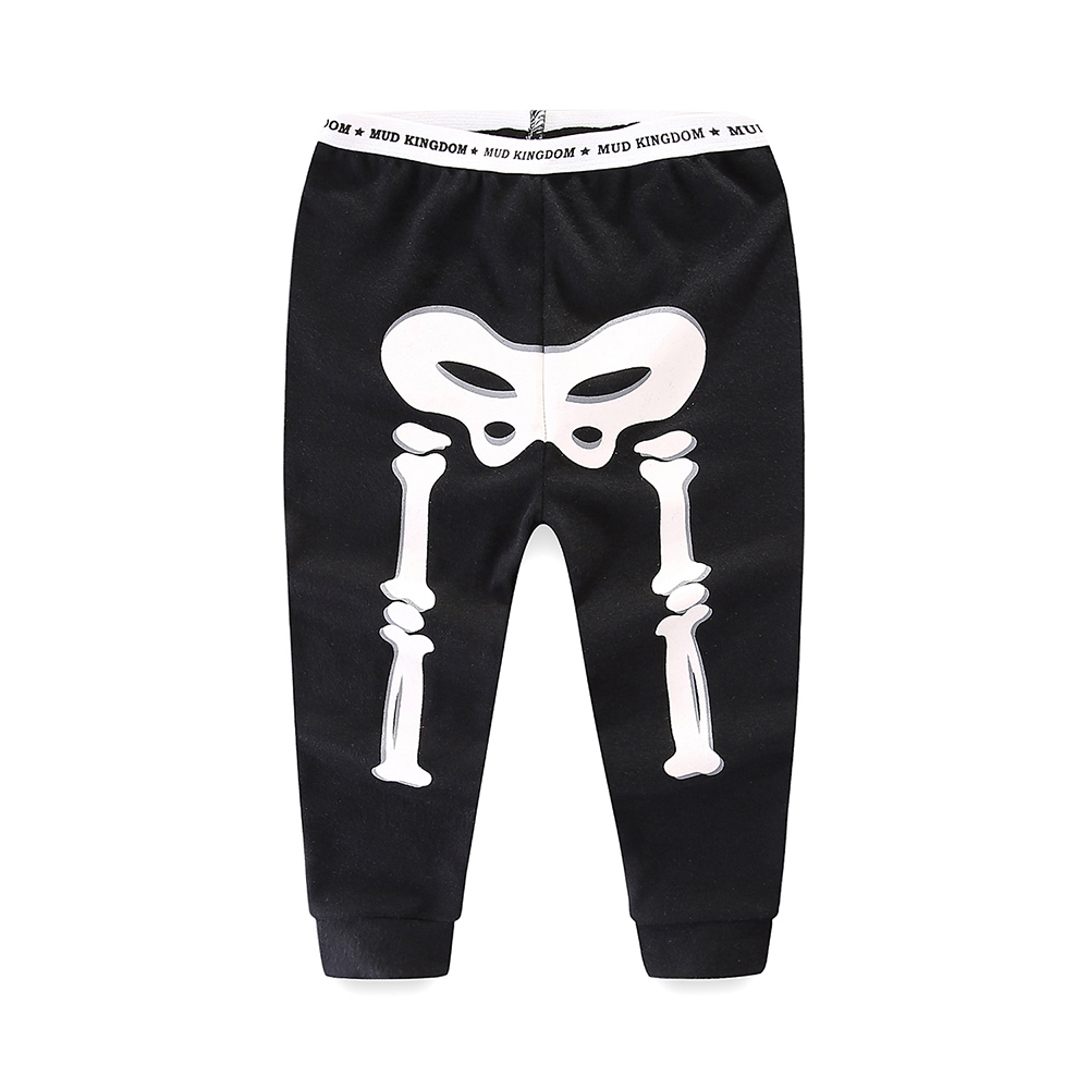 Mudkingdom Little Boys Girls Pajama Set Glowing Halloween Skeleton Fashion Kids Sleepwear Outfits 5