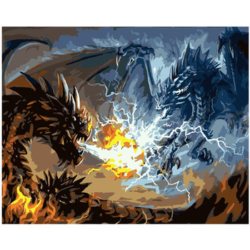 Painting By Number Dragon Fight Mythical Beasts Fantastic Animals Legends