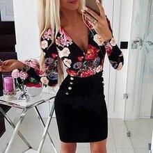 Женское сексуальное платье больших размеров с v-образным вырезом, длинным рукавом и принтом розы, вечерние мини-платья, элегантные облегающие Женские вечерние платья