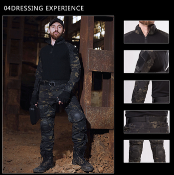 Tactical Suit Military Uniform Suits Camouflage Hunting Shirts Pants Airsoft Paintball Clothes Sets with 4 Pads&Plus 8XL 6