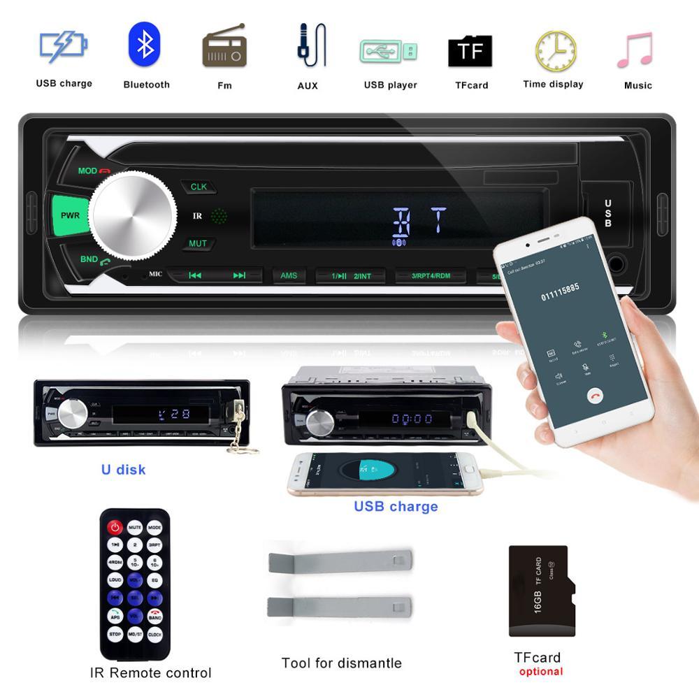 Autoradio Auto Stereo 1 Din Car Radio 12v Bluetooth V2.0 FM Aux Input Receiver Car Audio SD USB MP3 MMC WMA For Phone Car Audio