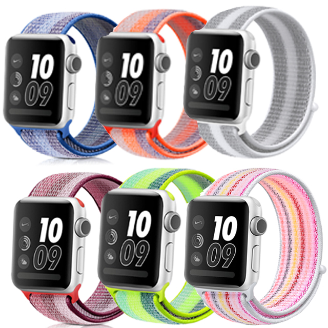 Sport Woven Nylon Loop For Apple Watch Band 38mm 42mm 40mm 44mm Wrist Braclet Adjust Nylon For Iwatch Strap Series 1/2/3/4