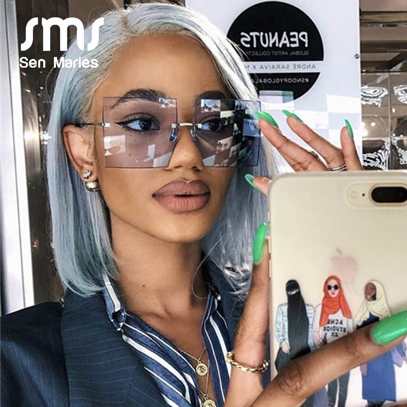 Oversized Rimless Square Sunglasses Women 2019 New Luxury Brand Fashion Flat Top Red Blue Clear Lens One Piece Men Gafas Glasses