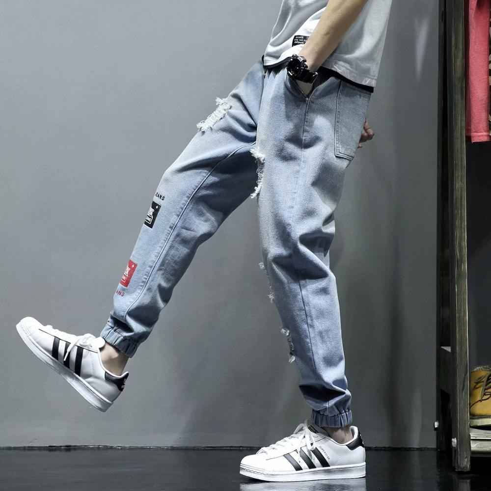 Wholesale 2019 Spring Autumn jeans homme streetwear teenagers men loose Distressed Ankle length pants men 39 s jeans hombre in Jeans from Men 39 s Clothing