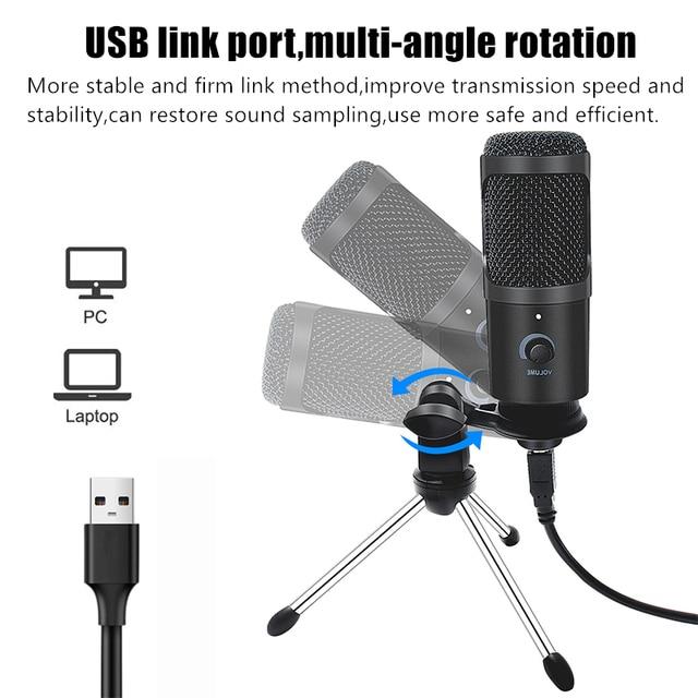 Microfone Condensador USB Profissional Para Computador Ideal para estúdio de Gravação e Lives 3