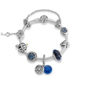 Image 2 - Murano glass blue pendant 925 Sterling Silver Charm snake bone chain Bracelets sparkling Beads fashion jewelry women accessories