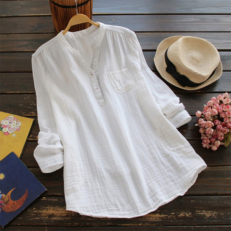 Vintage Cotton Linen O-Neck Blouse Women Casual Loose Shirts Autumn Long Sleeve Buttons Shirts Ladies Tops Clothing Plus Size
