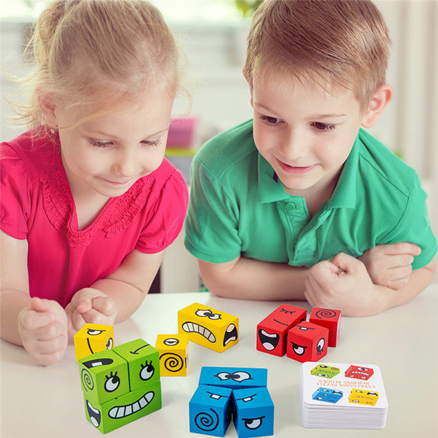 Cartoon Cube Face Changing Building Blocks Party Game Wooden Puzzle Montessori Toy Anxiety Stress Relief Toys For Children Kids
