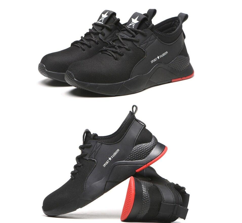 Легкая дышащая мужская защитная обувь со стальным носком Рабочая обувь для мужчин анти-разбивая конструкция кроссовки
