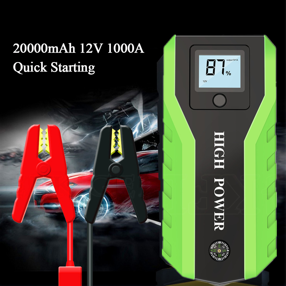 Arrancador de batería de coche GKFLY de alta potencia 20000mAh 1000A 12V dispositivo de arranque banco de energía cargador de batería de coche para gasolina Diesel