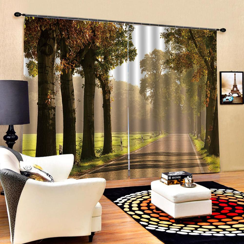 auturn scenery curtains 3D Curtain Luxury Blackout Window Curtain Living Room road tree curtains Blackout curtain
