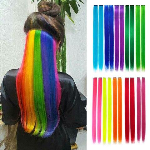 Длинные прямые волосы накладные на заколках яркие цвета радуги