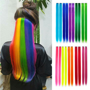 Long Straight Hair Piece Hair Extensions Clip In Highlight Rainbow Color Hair Streak Blue Pink Yellow Synthetic Hair Strands