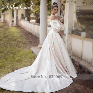 Image 4 - Ashley Carol Satin A Line Wedding Dress 2020 Puff Sleeve Beading Crystal Sweetheart Bride Dresses Button Vintage Bridal Gowns