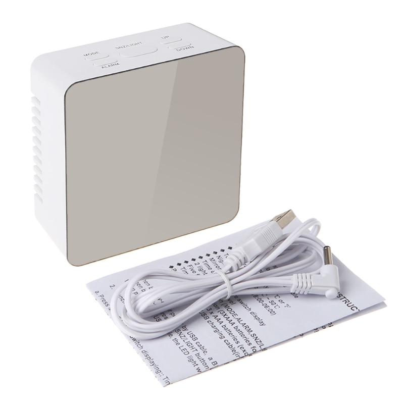 Digital LED Mirror Clock 12H/24H Alarm Desktop Thermometer Clocks White Light