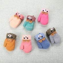 Горячая Распродажа, новые модные детские перчатки с изображением забавного медведя, зимние вязаные шерстяные утолщенные перчатки, теплые детские перчатки