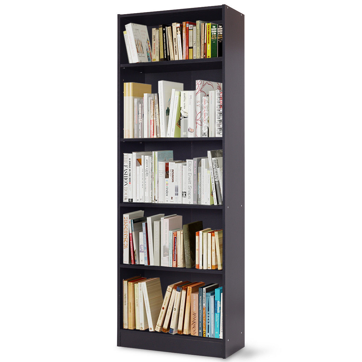 Costway Modern 5 Tier Shelf Bookcase Storage Media Storage Organization Cabinet Black