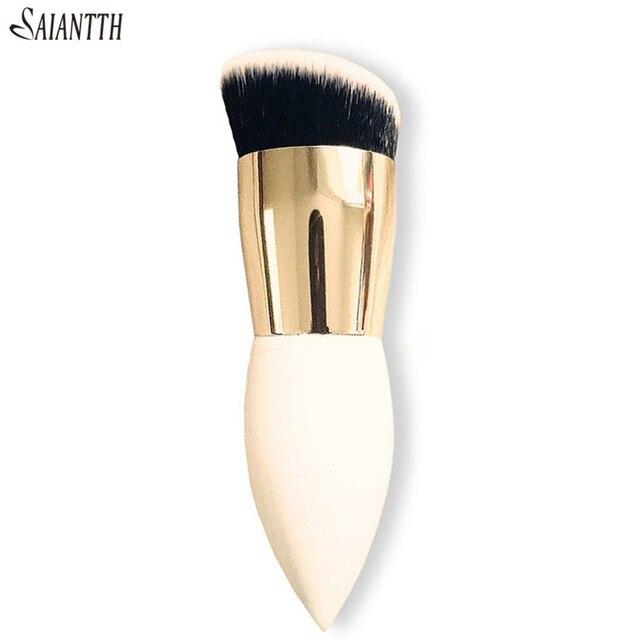 Saiantth Enkele Chubby Houten White Gold Make Up Kwasten Beauty Tool Foundation Brush Kegel Handvat Dichte Schuine Pincel Maquiagem