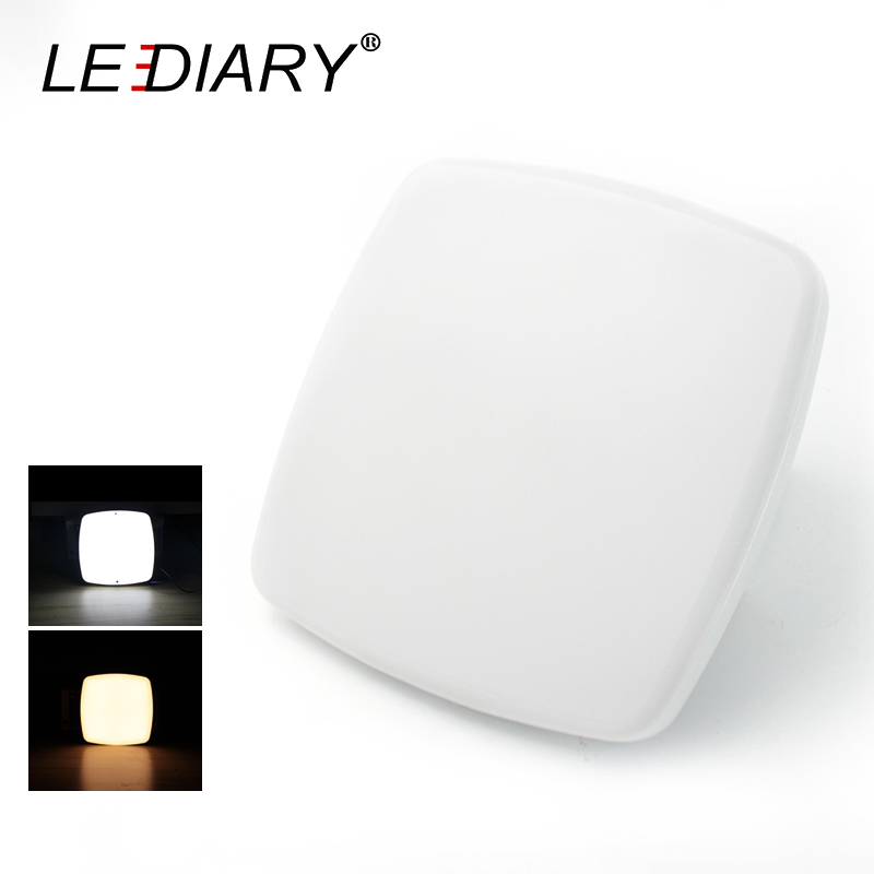 LEDIARY Super Bright Mini LED Ceiling Lamp 220V 15W 15CM Square Cabinet Light For Balcony/Porch Screw Fixed Lighting Fixture