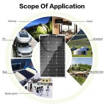 18V Solar Panel 300W/150W Semi-flexible Monocrystalline Solar Cell DIY Cable Waterproof Outdoor Connector Battery Charger 6