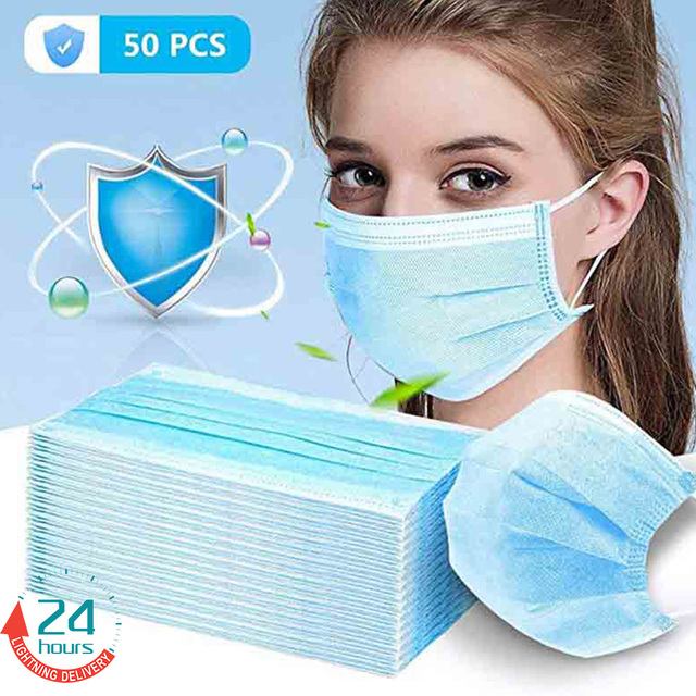 50pcs In stock Medical Surgical Disposable Mask Protective Anti Dust Fog Bacteria Flu Proof Non-woven Three-layer Mounth Masks